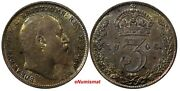 Great Britain Edward Vii Silver 1906 3 Pence Xf Toned Better Date Km 797.2