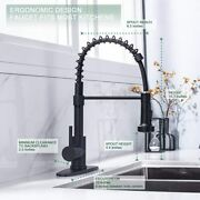 Kitchen Spring Faucet Pull Out Matte Black Tap For Farmhouse Laundry Bar Sink