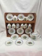 Vintage Itand039s Cragstan For Toys Childand039s Porcelain Tea Set With Wood Cabinet