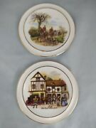 Two Royal Vale Bone China Coasters - The Huntsman And Old Coach House Yard