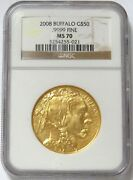 2008 Gold Buffalo 50 1 Oz Coin Ngc Mint State 70