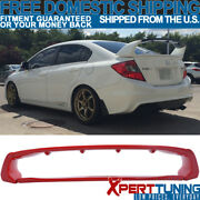 Fit 12-15 Honda Civic Mugen Style Painted Rally Red Trunk Spoiler Abs