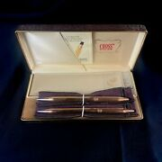 Vintage Cross 14k Gold Filled Ball Point Pen And Pencil Set W/ Box - Made In Usa