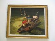 Vintage Oil Painting American Wpa Style Fisherman Expressionist Modernist Signed