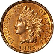 1887 1c Indian Head Cent Ngc Ms65rb Eeps 7-004