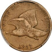 1857 1c Obv. Die Clash W/ 20 Fs-403 S-7 Flying Eagle Cent Pcgs F15 Eeps 973