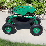 Sunnydaze Rolling Garden Cart With 360-degree Swivel Seat And Tool Tray - Green