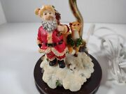 Holiday Lamp Santa Claus And Reindeer Embossed Shade Fills With Colorful Holiday