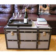 Decorative Vienna Large Wood Steamer Trunk Wooden Treasure Brown Casual