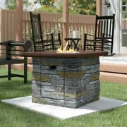 Outdoor Firepit Table Square Stone Propane Gas Patio Backyard Fireplace Heater