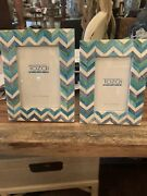 Tozai Home Photo Frames 5x7 And 4x6 Ivory And Blues