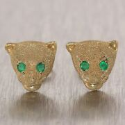 Vintage Estate 14k Yellow Gold 0.20ctw Emerald Cougar Earrings