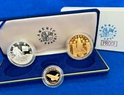 1988 Young Astronauts America In Space 3 Coin Silver Gold Proof Set