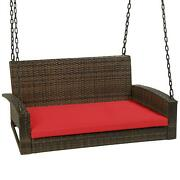 Woven Wicker Hanging Porch Swing Bench W/ Mounting Chains Seat Cushion