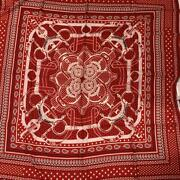 Hermes Bandana Scarf Red Cashmere 70 Silk 30 Made In France Never Used