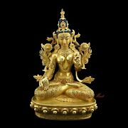 Finely Hand Carved 24 K Gold Gilded White Tara Dholkar Copper Statue From Patan