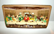 Religious Last Supper 3d Relief Art Sculpture Wall Hanging Colorful 15x2 1/2x7