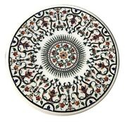 White Round Marble Dining Table Top Precious Mosaic Floral Inlay Home Decor W120