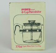 Vintage Pyrex 6 Cup Glass Coffee Pot Percolator 7756 -new Sealed In Box Nos