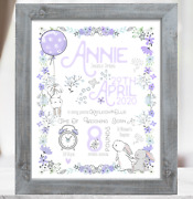 Lilac Rabbit Personalised New Baby Girl Gift Christening Baptism Baby Present