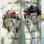 Set Of 2 French Victorian Girl Maiden Wall Sculpture Planters Floral Display