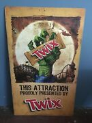 Rare Six Flags Great Escape Roller Coaster Ride Metal Sign Twix Monster