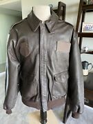 Avirex Dscp A-2 Brown Flight Us Air Force Bomber Leather Jacket 48l Xl Long 🌎✅