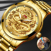 Waterproof Gold Menand039s Diamond Quartz Watch Classic Stainless Steel Business Gift