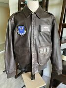 Pop's Leather Deluxe Usaf A-2 Flight Brown Jacket With Chit Xxl Very Nice 🌎✅⭐️