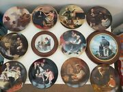 Large Lot 12 Norman Rockwell Decorative Collector Plates Most With Coa's Knowles