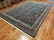 Large 9x13 Ft Antiqueandunique Blue Traditional Turkish Hand-woven1970s Hereke Rug