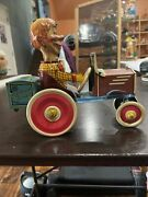 1939 Marx Tin Wind Up Mortimer Snerd Crazy Car Great Working Condition