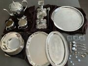 Antique Silver Plate Lot, Trays, Coffee Set, Bowl, Candlestick Holders, Spoons +