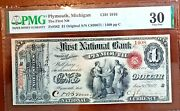 1872 Plymouth Michigan Fr. 382 The First Nb 1 Original Pmg Vf30 1 Of 3 Known