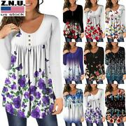 Plus Size Women Floral Long Sleeve Blouse T-shirt Ladies Casual Loose Tunic Tops