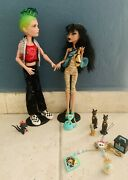 Monster High Cleo De Nile And Deuce Gordon Plus Pets Some Accessories / Preowned