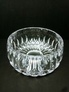 Vintage Small Round Cut Glass Crystal Rose Bowl Vase Diamond And Leaf Fan Cut