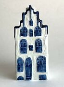 Rare Vintage Klm Holland Blue Delft's Canal House 22 Ashtray Collectible Empty