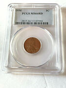 1954 Lincoln Wheat Penny Cent Pcgs Ms66rd