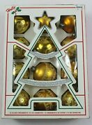 Vintage Holly Decorations Gold Glass Christmas Ball Ornaments 2 1/4 Box Of 12