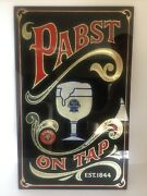 Vintage Pabst On Tap Mirror Rare Very Nice Condition Pabst Blue Ribbon Sign Beer