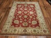 Vintage Large 5x6 Ft Red Bohemian Oushak Traditional Hand-woven Turkish Rug