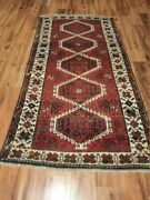 1960s Antique Pure Wool 4x8 Ft Red Traditional Turkish Hand-woven Anatolian Rug