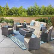 Sanger Outdoor 7 Seater Wicker Chat Set With Light Weight