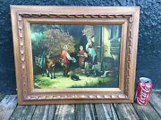Old World Village Hunting Family Oil Painting By Paul Vosman Framed.