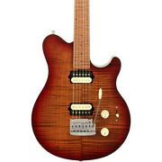 Ernie Ball Music Man Axis Super Sport Flame Top Electric Guitar Roasted Amber