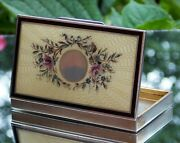 Beautiful 19th Century Solid Silver Yellow Guilloche Enamel Pink Roses Snuff Box
