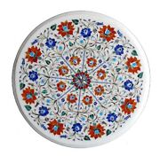 White Round Marble Coffee Table Top Carnelian Mosaic Flower Inlay Home Deco W156