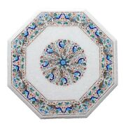 White Marble Dining Table Top Lapis Peacock Floral Inlay Art Handmade Decor W172