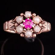 Victorian Old Cut Ruby Pearls 14k Yellow Gold Ring Halo Antique Gift C1800s